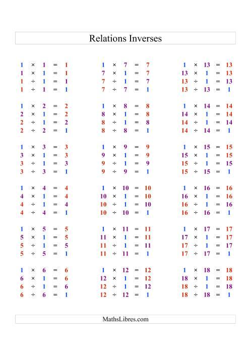 La Toutes Relations Inverses en Couleur pour les Règles de Multiplication et de Division de 1 à 18 Fiche d'Exercices d'Algèbre