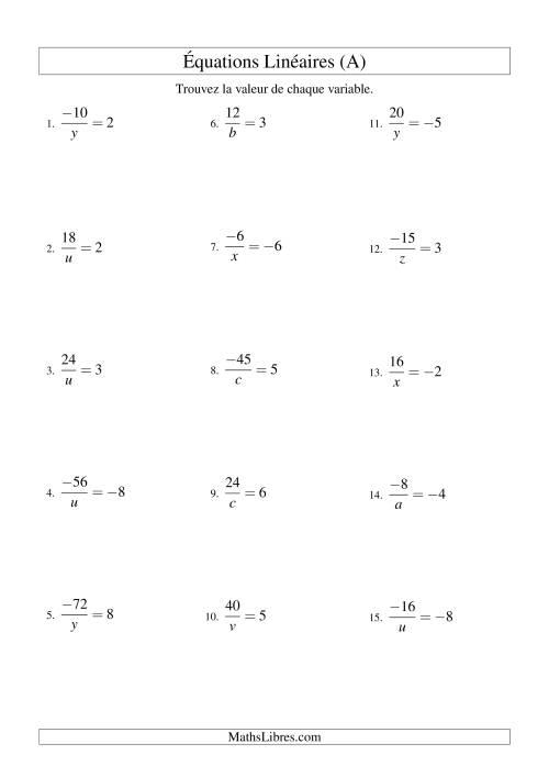 La Résolution d'Équations Linéaires (Incluant Valeurs Négatives) -- Forme a/x = c (A) Fiche d'Exercicec d'Algèbre