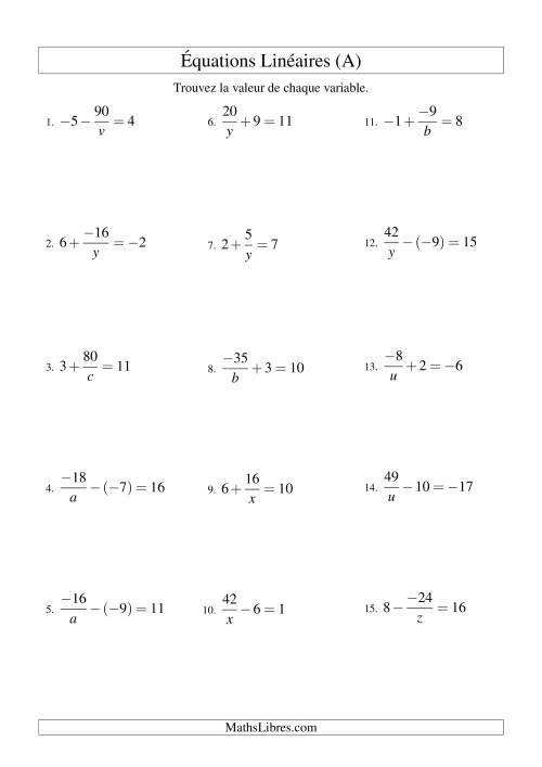 La Résolution d'Équations Linéaires (Incluant Valeurs Négatives) -- Forme a/x ± b = c (A) Fiche d'Exercices d'Algèbre