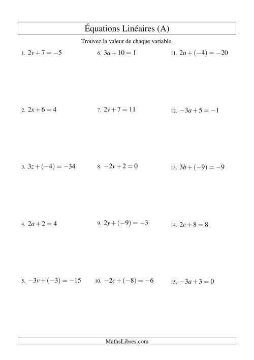 La Résolution d'Équations Linéaires (Incluant Valeurs Négatives) -- Forme ax + b = c (A) Fiche d'Exercices d'Algèbre