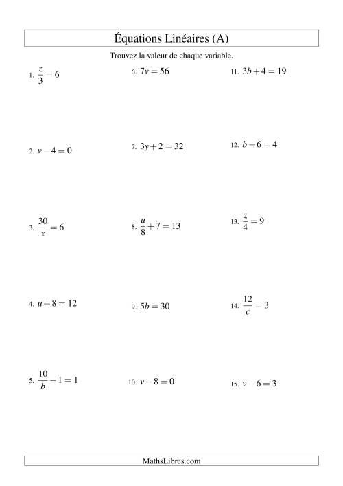 La Résolution d'Équations Linéaires -- Forme ax + b = c Toutes Variations (A) Fiche d'Exercices d'Algèbre