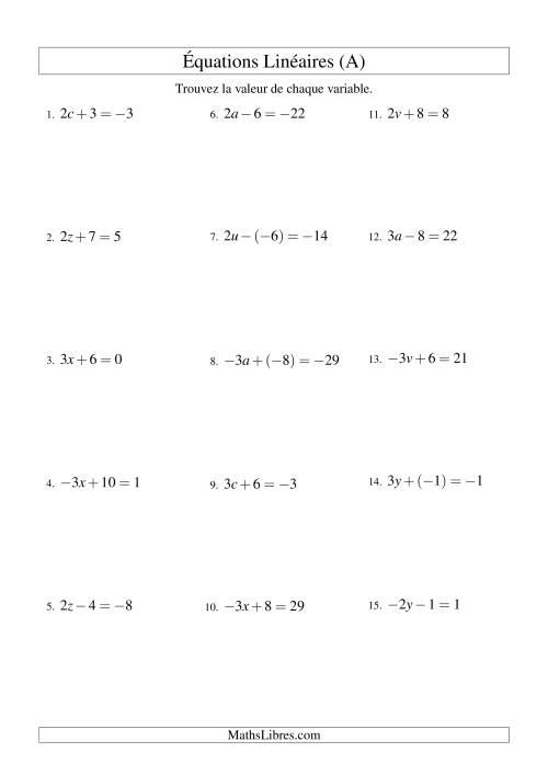 La Résolution d'Équations Linéaires (Incluant Valuers Négatives) -- Forme ax ± b = c (A) Fiche d'Exercices d'Algèbre