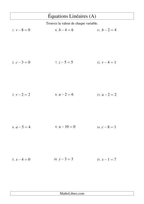 La Résolution d'Équations Linéaires -- Forme x - b = c (A) Fiche d'Exercices d'Algèbre