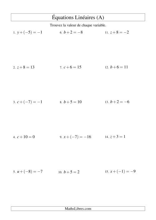 La Résolution d'Équations Linéaires (Incluant Valeurs Négatives) -- Forme x + b = c (A) Fiche d'Exercices d'Algèbre