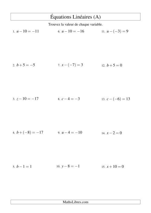 La Résolution d'Équations Linéaires (Incluant Valeurs Négatives) -- Forme x ± b = c (A) Fiche d'Exercices d'Algèbre