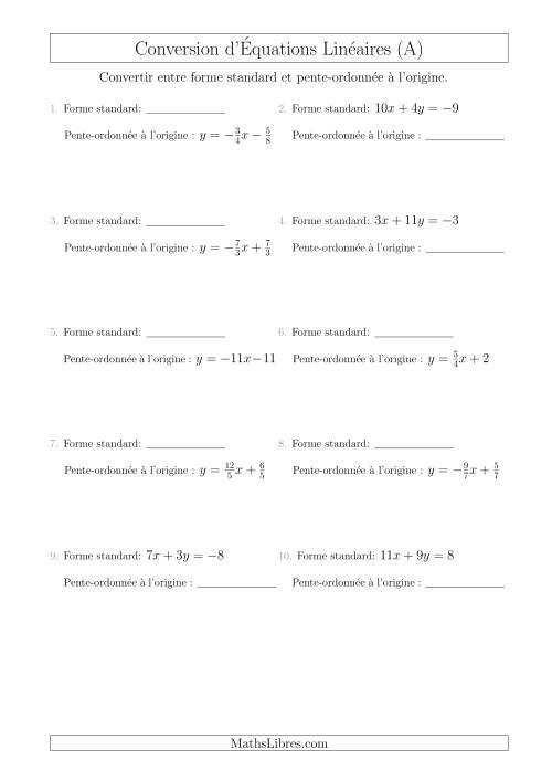 La Convertir Entre Forme Standard et Pente-Ordonnée à l'Origine (Mixte) (A) Fiche d'Exercices sur l'Algèbre