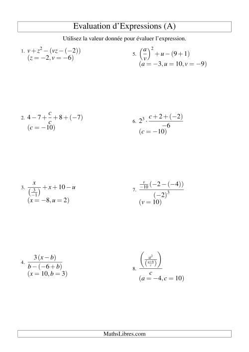 La Résolution d'Expressions Algébriques à Cinq Étapes avec Trois Variables (A) Fiche d'Exercices d'Algèbre