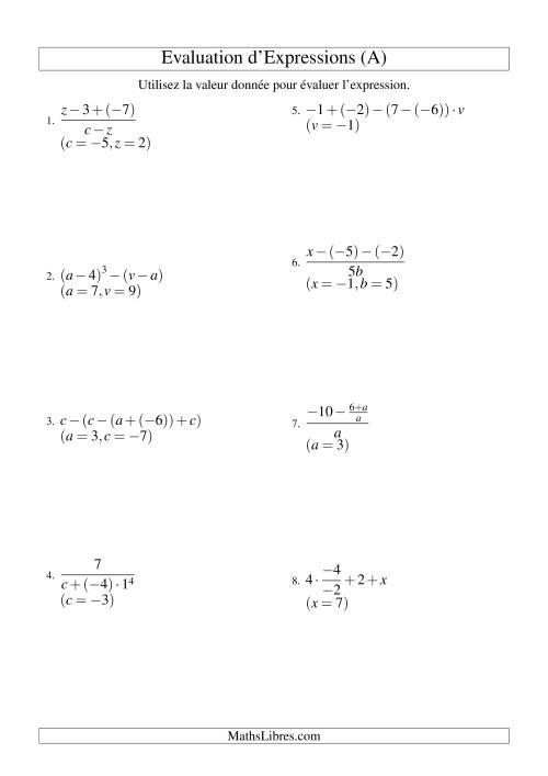 La Résolution d'Expressions Algébriques à Quatre Étapes avec Trois Variables (A) Fiche d'Exercices d'Algèbre