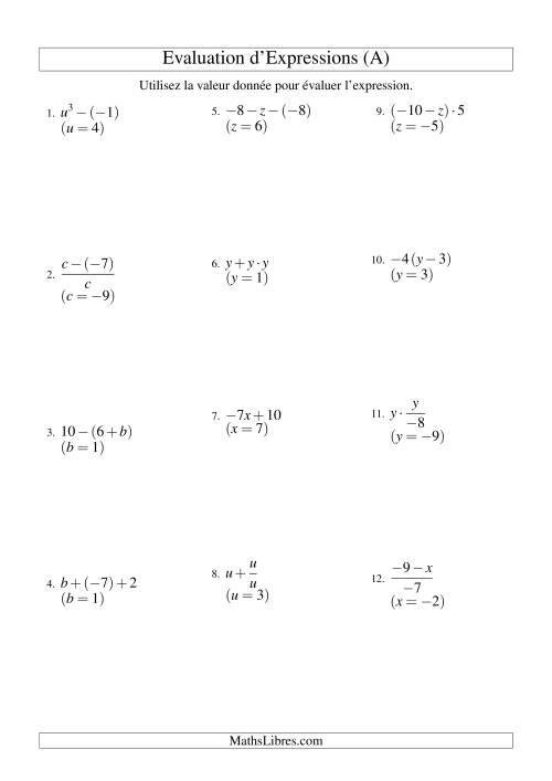 La Résolution d'Expressions Algébriques à Deux Étapes avec Une Variable (A) Fiche d'Exercices d'Algèbre