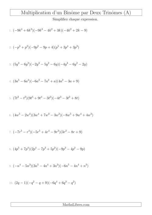 La Multiplication d'un Binôme par Deux Trinômes (A) Fiche d'Exercices sur l'Algèbre