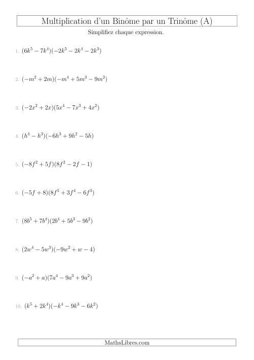 La Multiplication d'un Binôme par un Trinôme (A) Fiche d'Exercices sur l'Algèbre