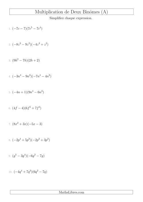 La Multiplication de Deux Binômes (A) Fiche d'Exercices sur l'Algèbre