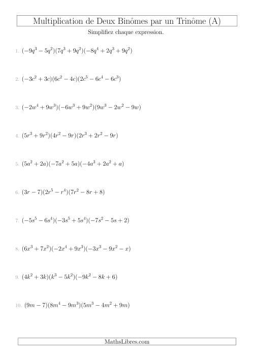 La Multiplication de Deux Binômes par un Trinôme (A) Fiche d'Exercices sur l'Algèbre