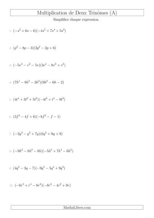 La Multiplication de Deux Trinômes (A) Fiche d'Exercices sur l'Algèbre