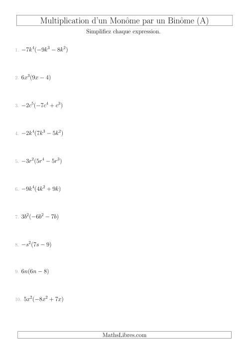 La Multiplication d'un Monôme par un Binôme (A) Fiche d'Exercices sur l'Algèbre
