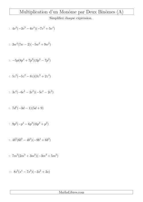 La Multiplication d'un Monôme par Deux Binômes (A) Fiche d'Exercices sur l'Algèbre