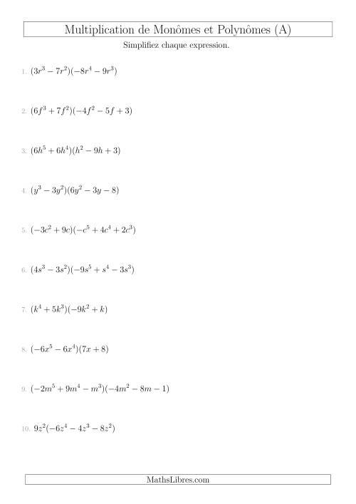 La Multiplication de Monômes et Polynômes (Mixtes) (A) Fiche d'Exercices sur l'Algèbre