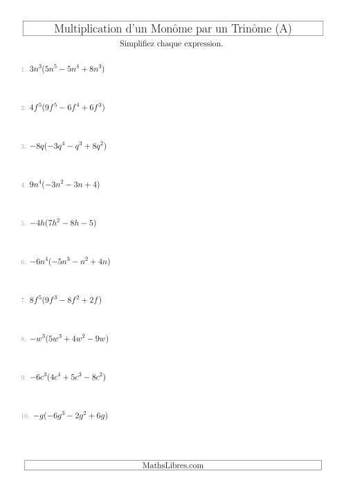 La Multiplication d'un Monôme par un Trinôme (A) Fiche d'Exercices sur l'Algèbre