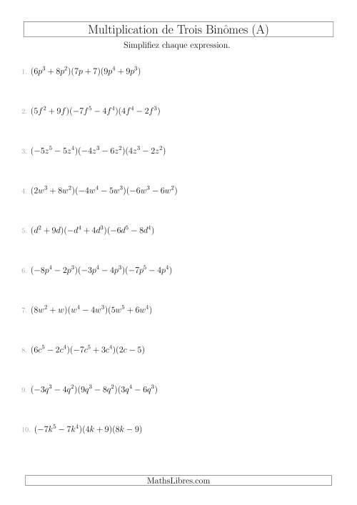 La Multiplication de Trois Binômes (A) Fiche d'Exercices sur l'Algèbre