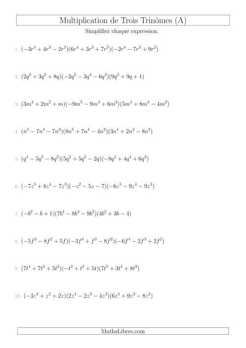 La Multiplication de Trois Trinômes (A) Fiche d'Exercices sur l'Algèbre