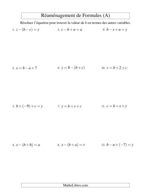 La Réaménagement de Formules -- Deux Étapes -- Addition et Soustraction (A) Fiche d'Exercices d'Algèbre