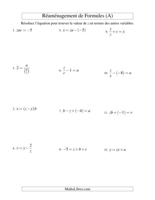 La Réaménagement de Formules -- Deux Étapes -- Toutes Opérations (A) Fiche d'Exercices d'Algèbre