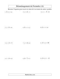 Réaménagement de Formules -- Une Étape -- Toutes Opérations (A)