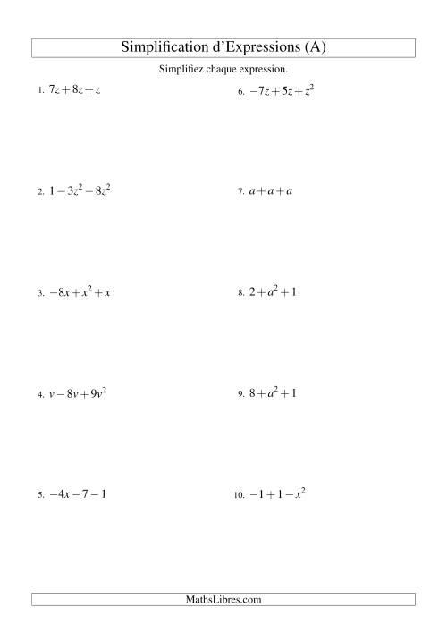 La Simplification d'Expressions Algébriques avec Trois Termes et Une Variable (Addition et Soustraction) (A) Fiche d'Exercices d'Algèbre