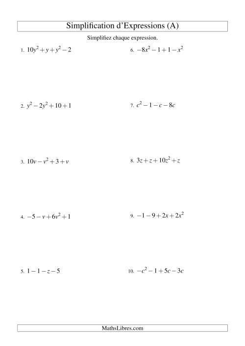 La Simplification d'Expressions Algébriques avec Quatre Termes et Une Variable (Addition et Soustraction) (A) Fiche d'Exercices d'Algèbre