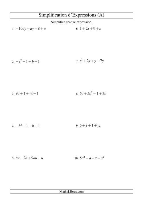 La Simplification d'Expressions Algébriques avec Quatre Termes et Deux Variables (Addition et Soustraction) (A) Fiche d'Exercices d'Algèbre