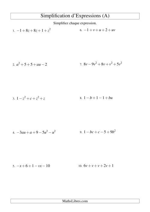 La Simplification d'Expressions Algébriques avec Cinq Termes et Deux Variables (Addition et Soustraction) (A) Fiche d'Exercices d'Algèbre
