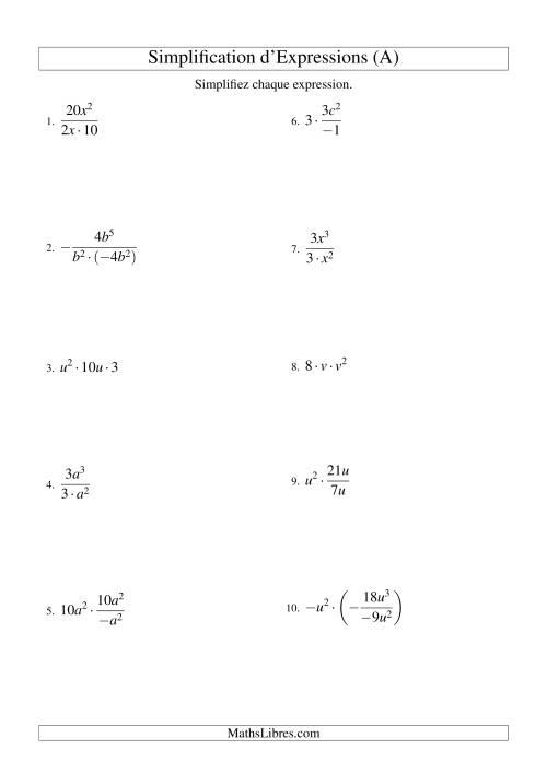 La Simplification d'Expressions Algébriques avec Trois Termes et Une Variable (Multiplication et Division) (A) Fiche d'Exercices d'Algèbre