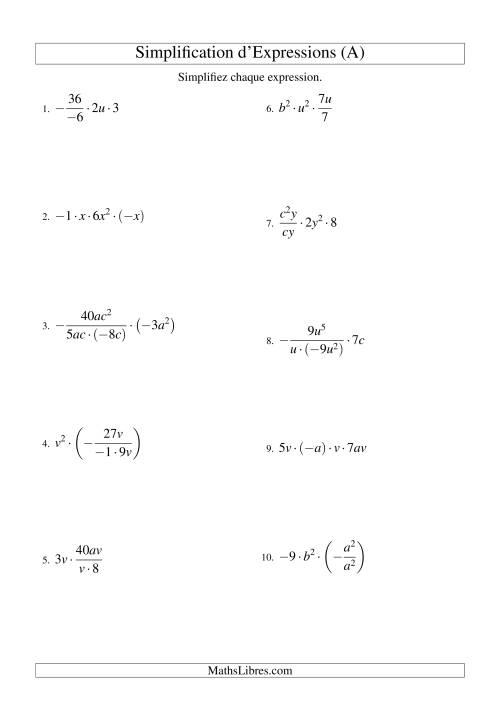 La Simplification d'Expressions Algébriques avec Quatre Termes et Deux Variables (Multiplication et Division) (A) Fiche d'Exercices d'Algèbre