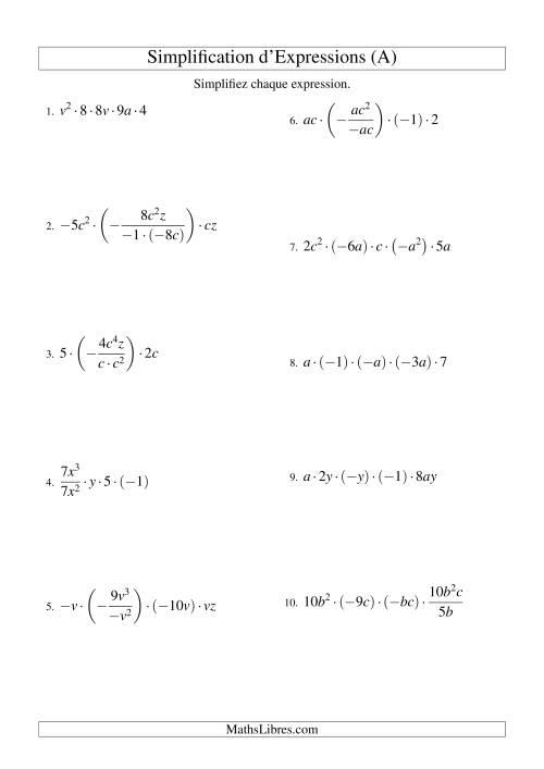 La Simplification d'Expressions Algébriques avec Cinq Termes et Deux Variables (Multiplication et Division) (A) Fiche d'Exercices d'Algèbre