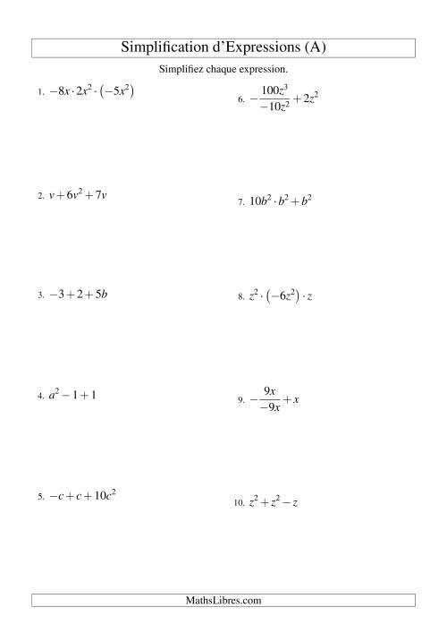 La Simplification d'Expressions Algébriques avec Trois Termes et Une Variable (Toutes Opérations) (A) Fiche d'Exercices d'Algèbre