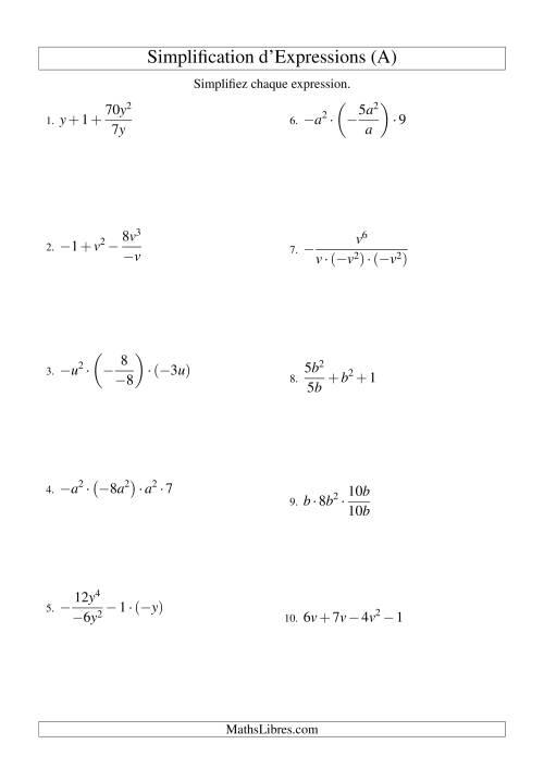 La Simplification d'Expressions Algébriques avec Quatre Termes et Une Variable (Toutes Opérations) (A) Fiche d'Exercices d'Algèbre