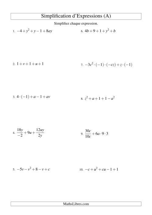 La Simplification d'Expressions Algébriques avec Cinq Termes et Deux Variables (Toutes Opérations) (A) Fiche d'Exercices d'Algèbre