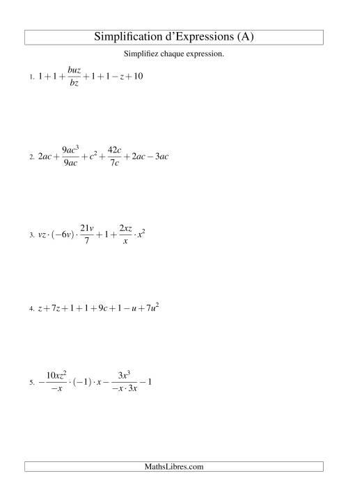 La Simplification d'Expressions Algébriques (Défi) (A) Fiche d'Exercices d'Algèbre