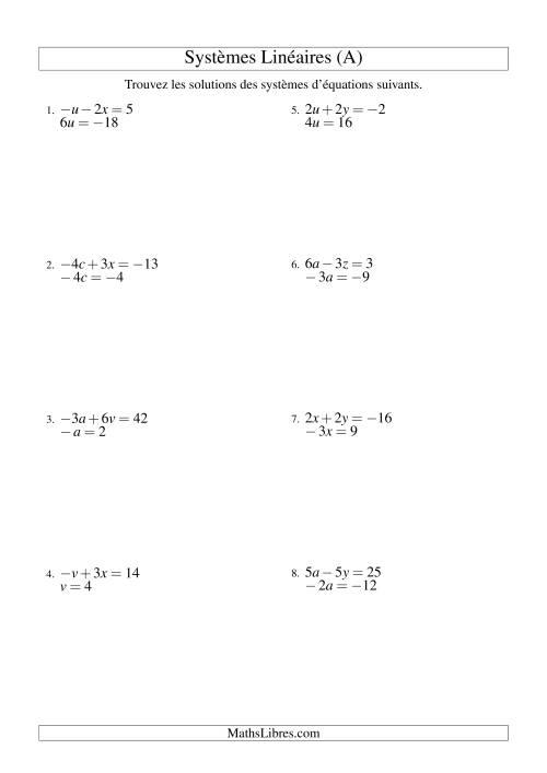 La Systèmes d'Équations Linéaires -- Trois Variables -- Facile (A) Fiche d'Exercices d'Algèbre