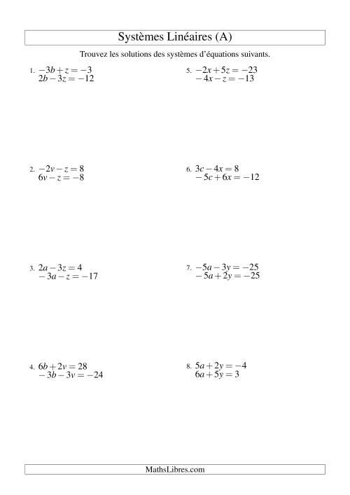 La Systèmes d'Équations Linéaires -- Trois Variables Incluant Valeurs Négatives -- Facile (A) Fiche d'Exercices d'Algèbre