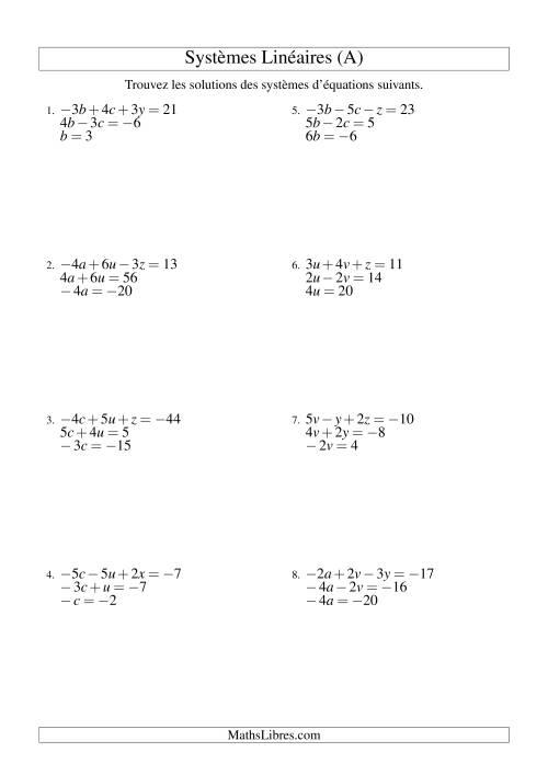 La Systèmes d'Équations Linéaires -- Trois Variables (A) Fiche d'Exercices d'Algèbre