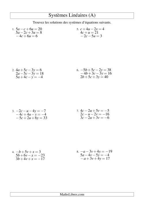 La Systèmes d'Équations Linéaires -- Trois Variables Incluant Valeurs Négatives (A) Fiche d'Exercices d'Algèbre