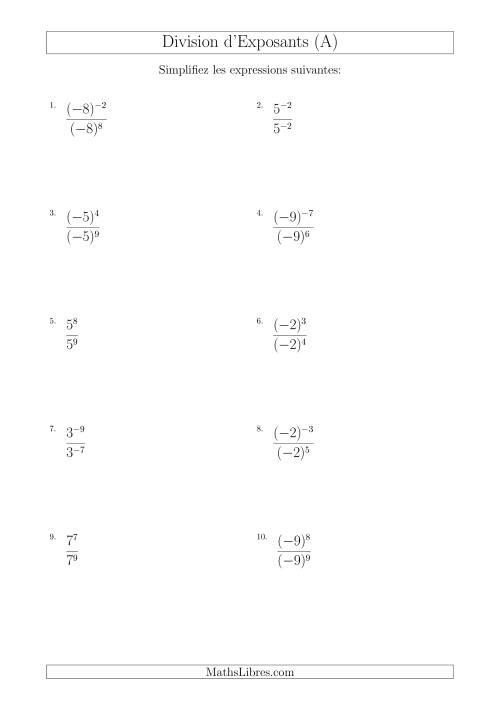 La Division d'Exposants Avec un Exposant Supérieur ou Égal Dans le Diviseur (Avec des Négatifs) (A) Fiche d'Exercises sur l'Algèbre