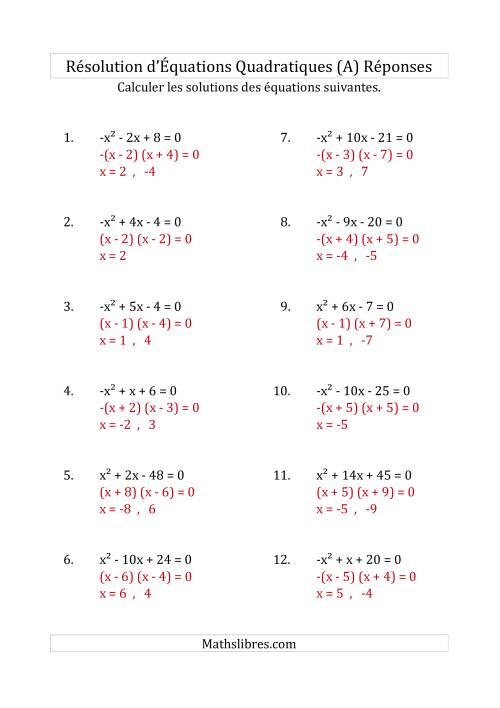 Résolution d'Équations Quadratiques (Coefficients de 1 ou -1) (A) page 2