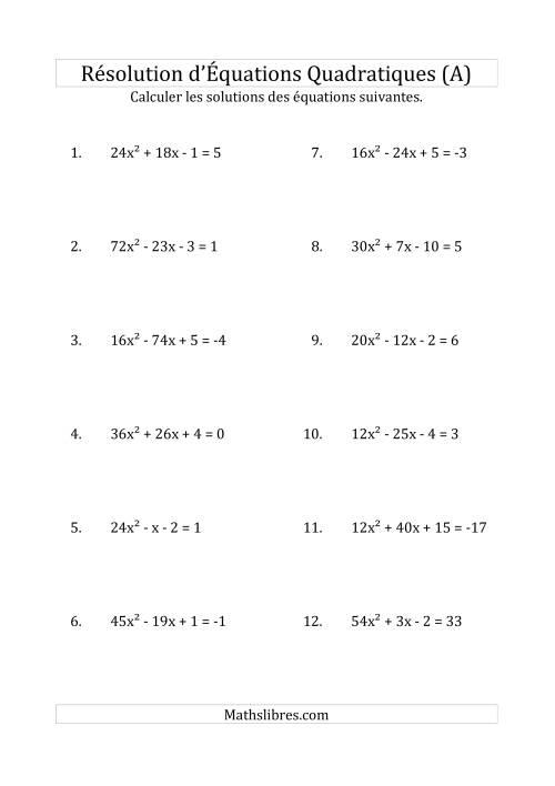 La Résolution d'Équations Quadratiques (Coefficients variant jusqu'à 81) (A) Fiche d'Exercices de Maths sur l'Algèbre