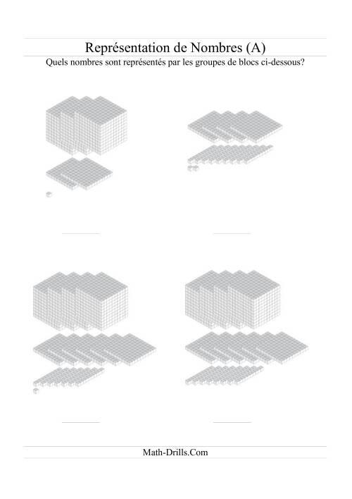 La Représentation de nombres -- Tous blocs (A) Fiche d'Exercices Blocs de Base Dix