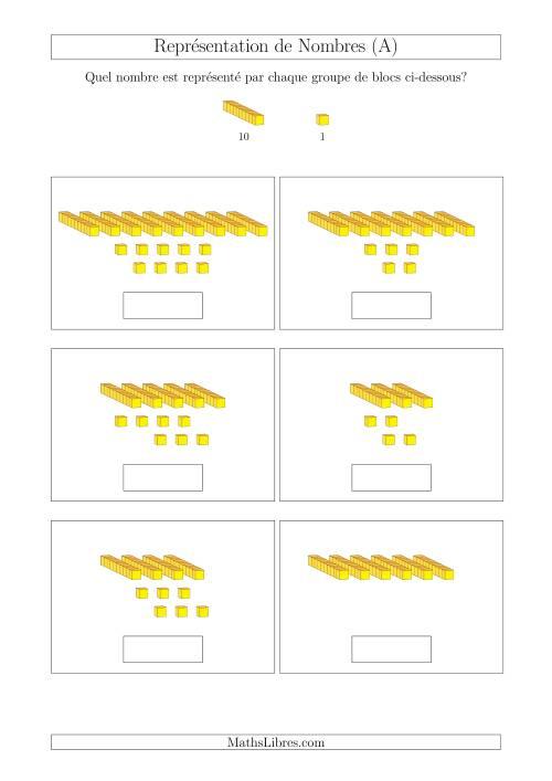 La Représentation des Unités et Dizaines (A) Fiche d'Exercices Base de Dix