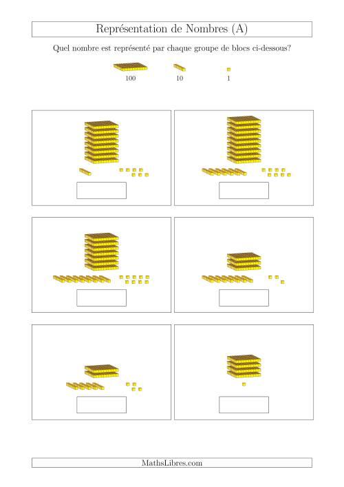 La Représentation des Unités, Dizaines et Centaines (A) Fiche d'Exercices Base de Dix