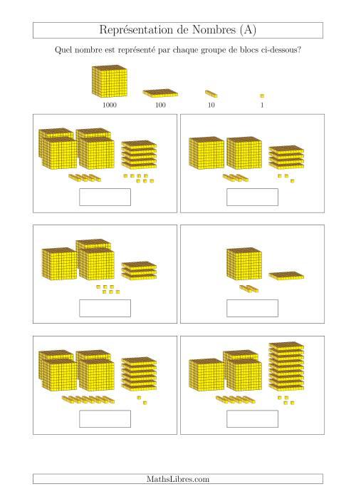 La Représentation des Unités, Dizaines, Centaines et Milliers (A) Fiche d'Exercices Base de Dix