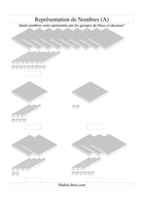 La Représentation de nombres -- Unités, dizaines et centaines (A) Fiche d'Exercices Blocs de Base Dix